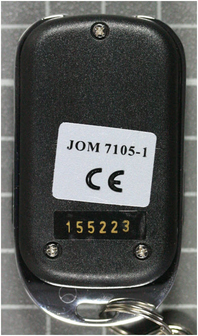Non-compliant central locking system, transmitter rear view
