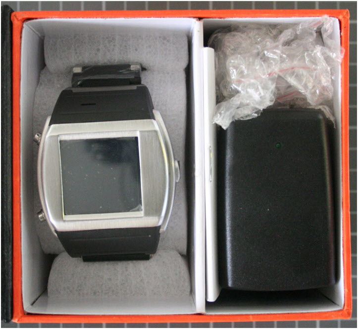 Non-compliant watch with mobile phone with packaging