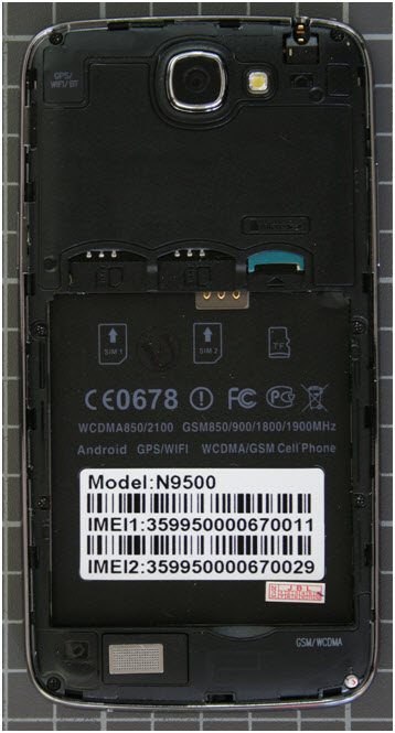 Non-compliant mobile phone inside view