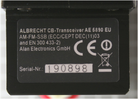 Non-compliant radiocommunications equipment - Type designation label