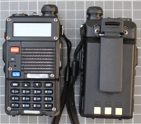 Non-compliant VHF/UHF two-way radio front and rear view