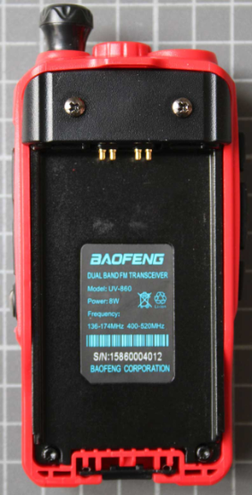 Non-compliant two-way radio without battery with type designation label