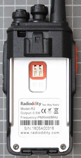 Non-compliant PMR 446 two-way radio without battery with type designation label