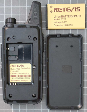 Non-compliant UHF two-way radio without battery with type designation label