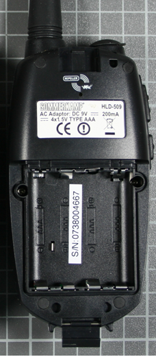 Non-compliant VHF/UHF two-way radio rear view