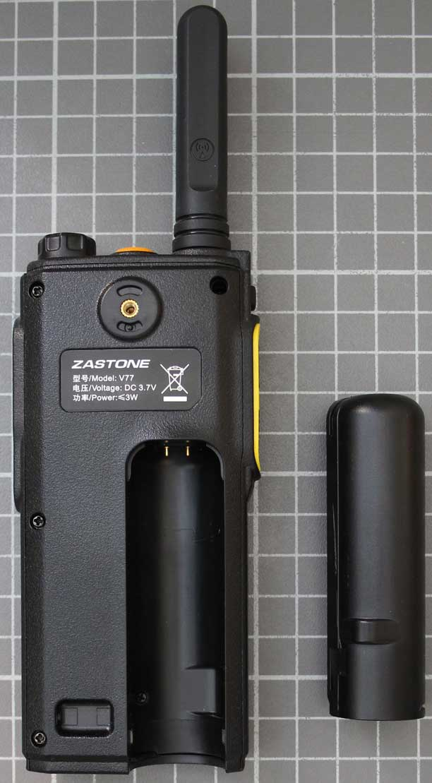 Non-compliant two-way radio without battery