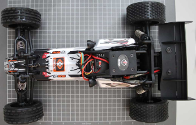 Non-compliant radio controlled car - receiver view from top