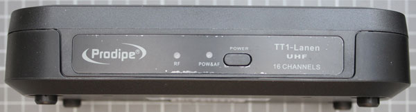 Non-compliant radio microphone, receiver, front view