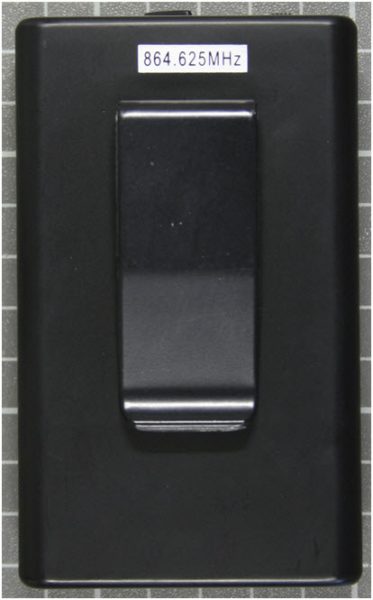 Non-compliant radio microphone, transmitter rear view